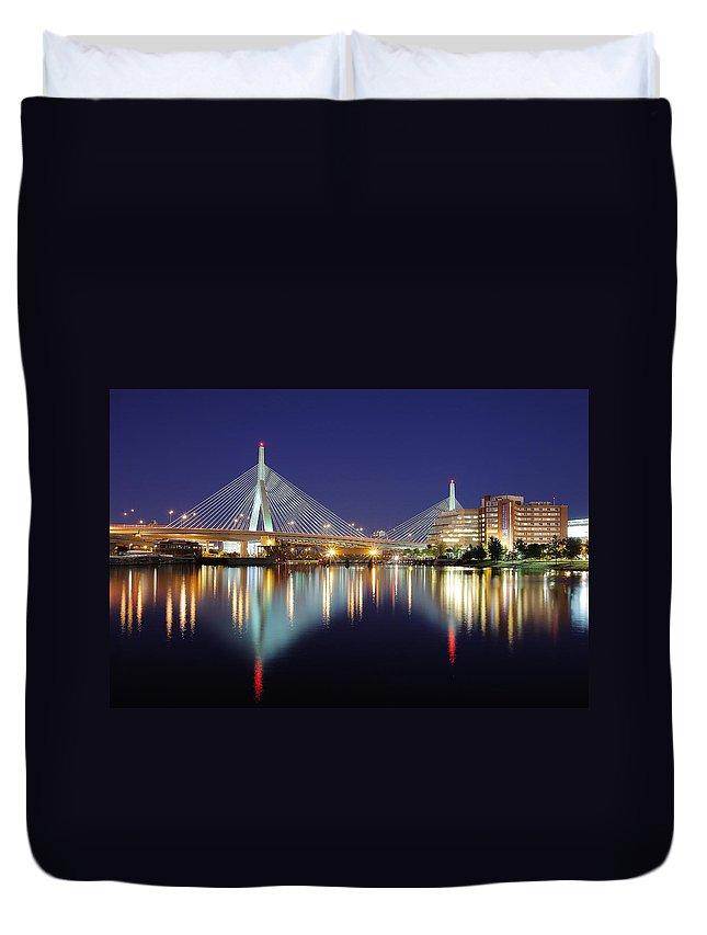 Boston Duvet Cover featuring the photograph Zakim Aglow by Rick Berk