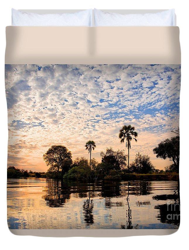 Zambezi Duvet Cover featuring the photograph Zambezi Sunset by Delphimages Photo Creations