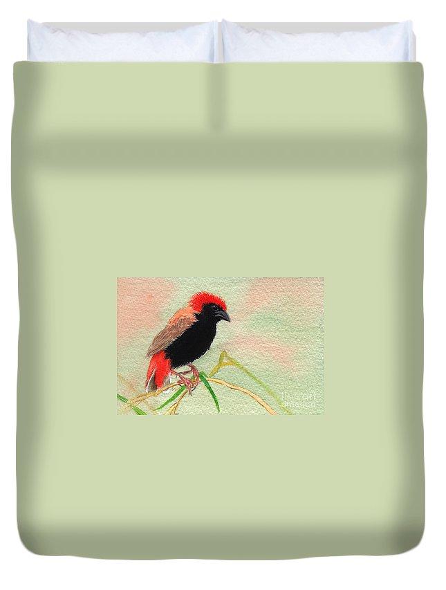 Bird Duvet Cover featuring the painting Zanzibar Red Bishop by Lynn Quinn
