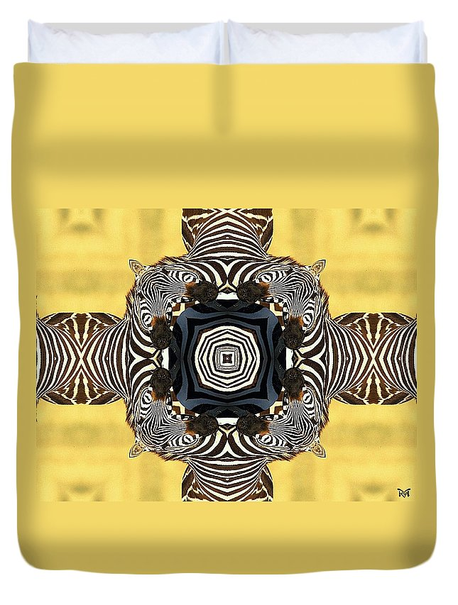 Digital Duvet Cover featuring the digital art Zebra Cross by Maria Watt