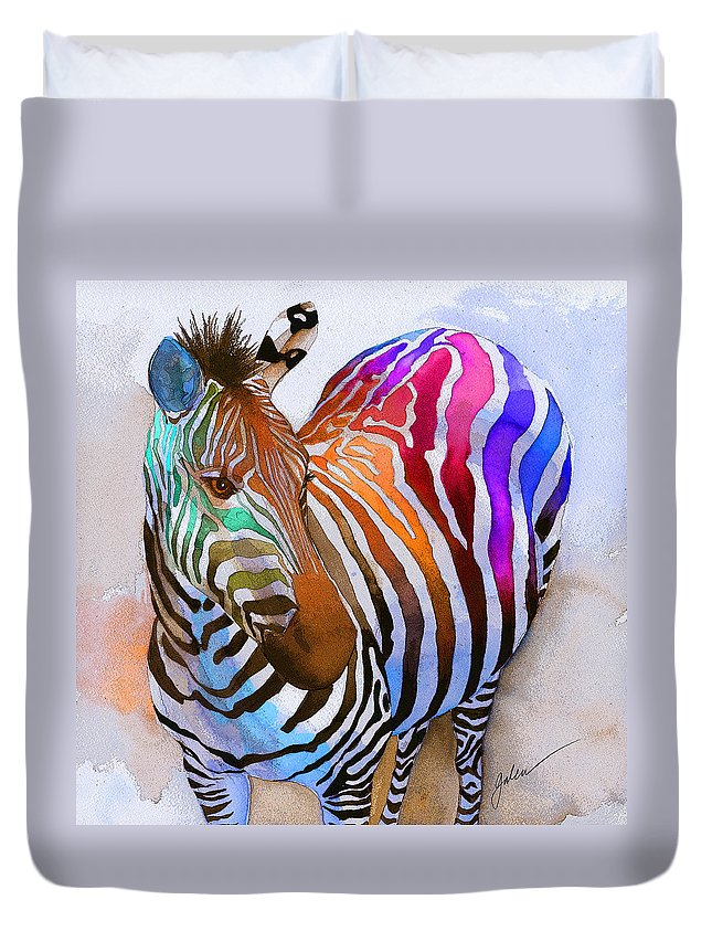 Colorful Duvet Cover featuring the painting Zebra Dreams by Galen Hazelhofer
