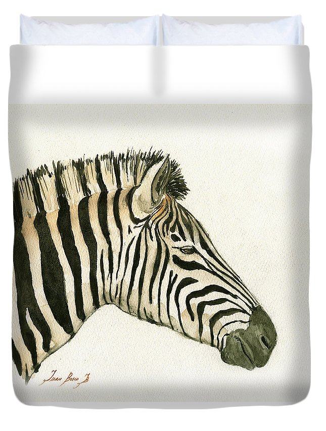 Zebra Duvet Cover featuring the painting Zebra Head Study Painting by Juan Bosco