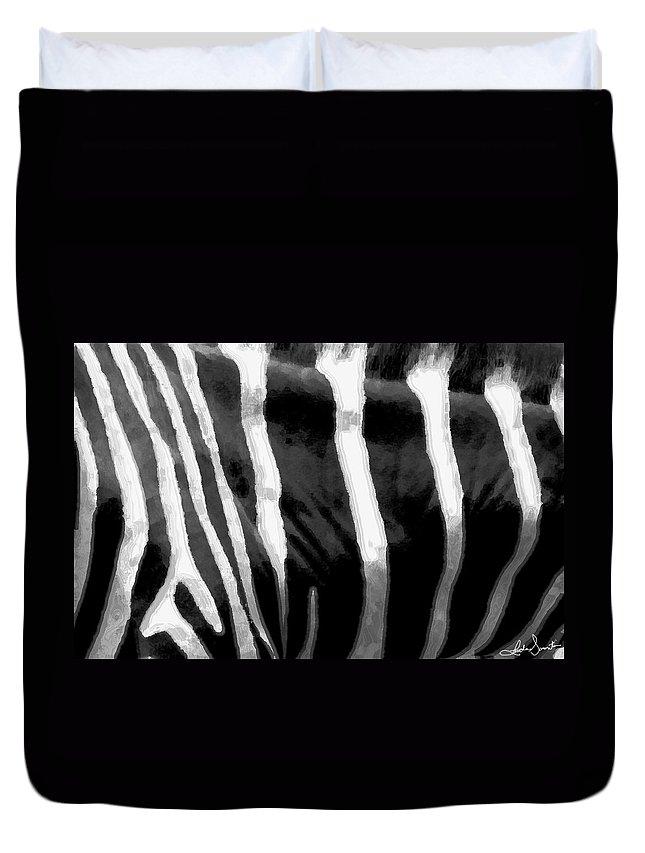 Zebra Art Duvet Cover featuring the photograph Zebra Lines by Linda Sannuti