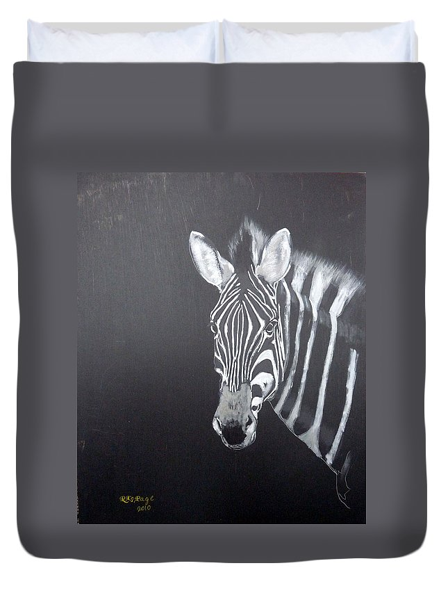 Zebra Duvet Cover featuring the painting Zebra by Richard Le Page