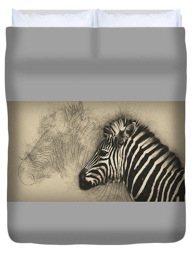 Animal Duvet Cover featuring the digital art Zebra Study by Peggy Kellogg