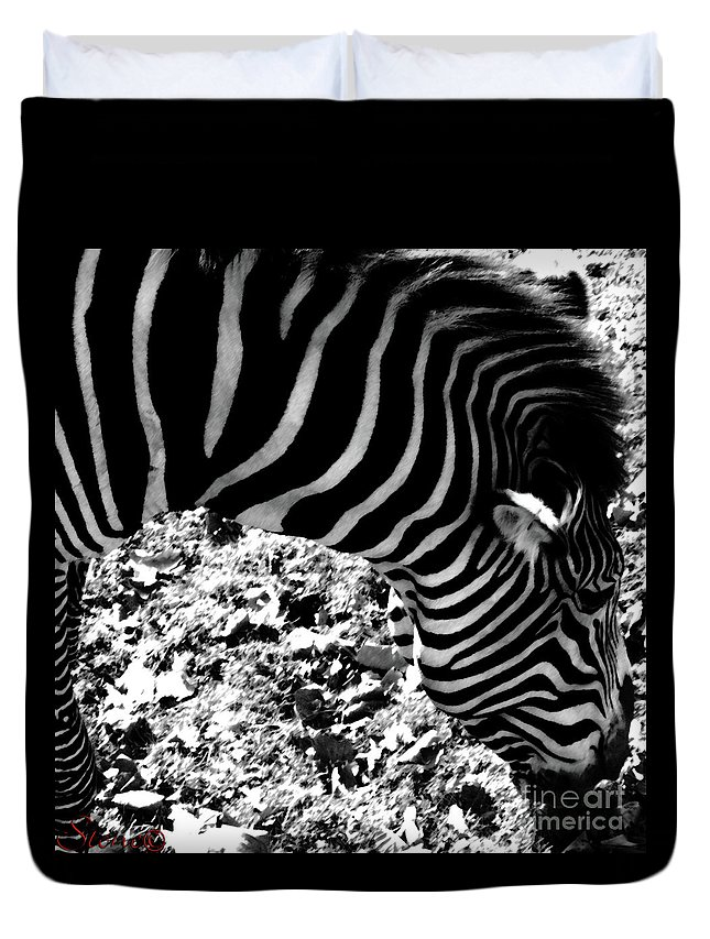 Zebra Duvet Cover featuring the photograph Zebra2 by September Stone