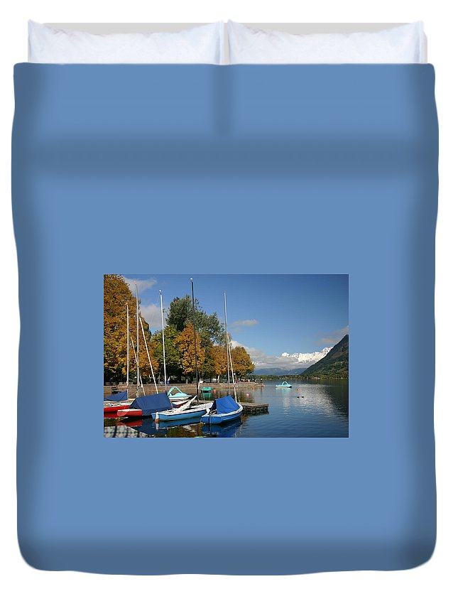 Sail Boats Duvet Cover featuring the photograph Zell Am See The Elements In Austria by Minaz Jantz