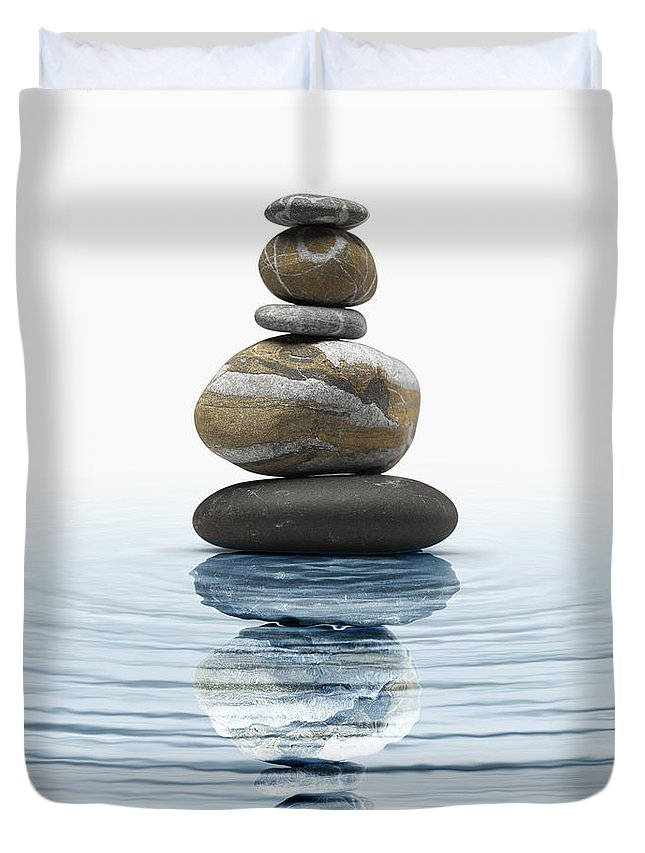 Abstract Duvet Cover featuring the photograph Zen Stones In Water by Bombaert Patrick