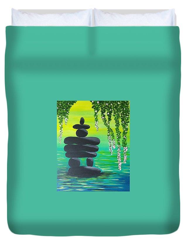 Duvet Cover featuring the painting Zen Time by Vivi Li