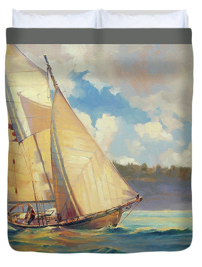 Sailboat Duvet Cover featuring the painting Zephyr by Steve Henderson
