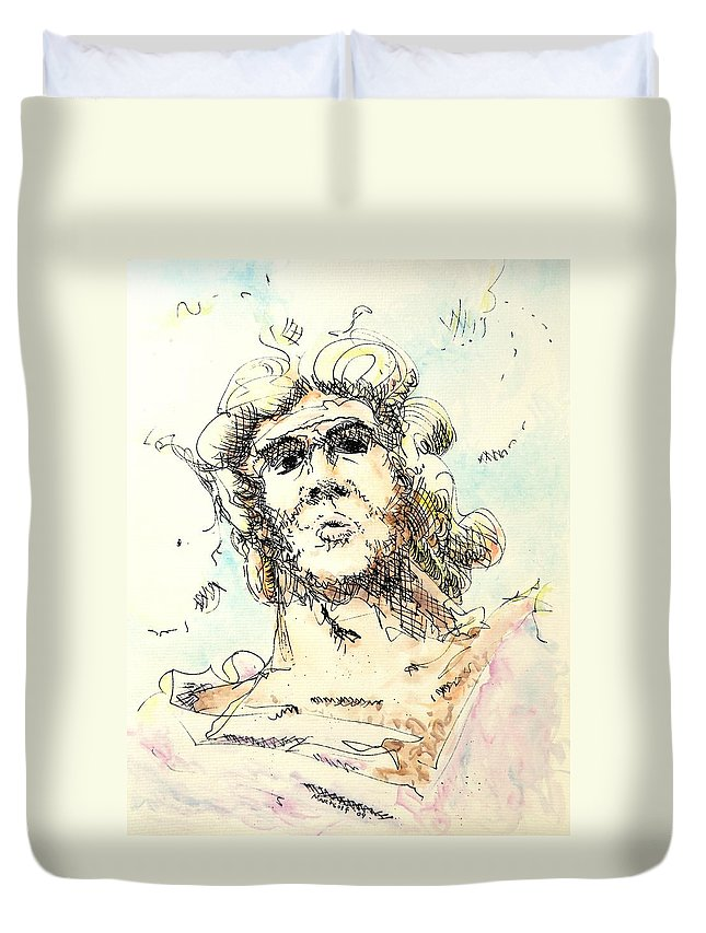 Zeus Duvet Cover featuring the painting Zeus by Dave Martsolf