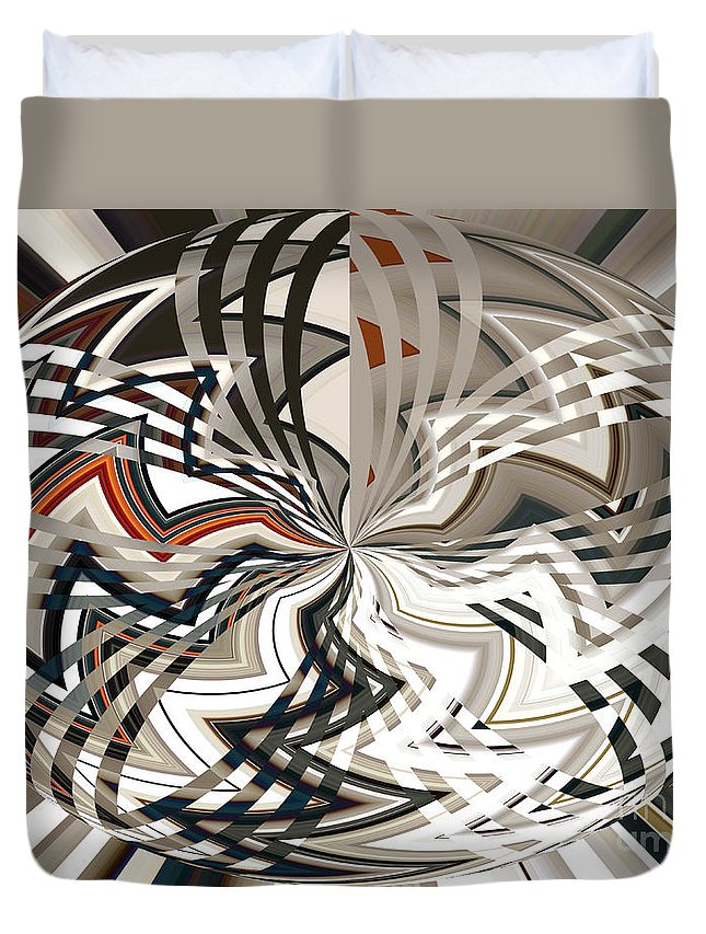 Zig Duvet Cover featuring the photograph Zig Zag Glass Sphere by Ann Johndro-Collins