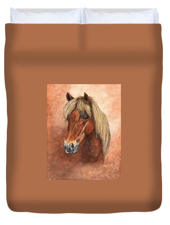 Pony Duvet Cover featuring the painting Ziggy by Kristen Wesch