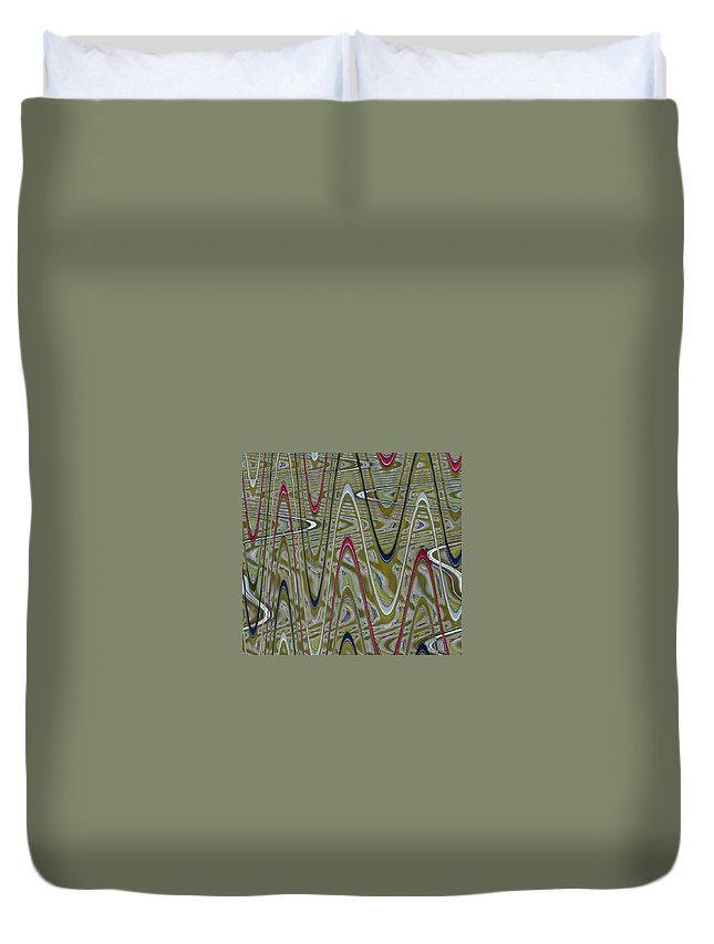 Zig Zag Duvet Cover featuring the digital art Zigoptical by Anne Cameron Cutri