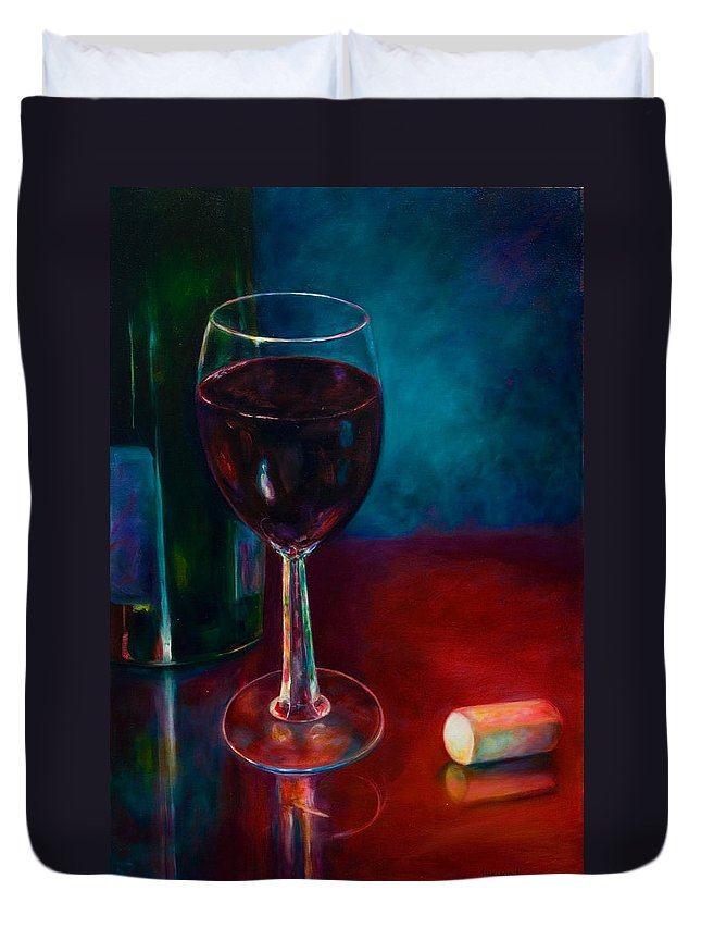 Wine Bottle Duvet Cover featuring the painting Zinfandel by Shannon Grissom