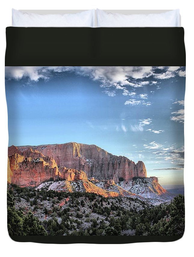 Landscape Duvet Cover featuring the photograph Zion At Sunset #3 by John Knoppers