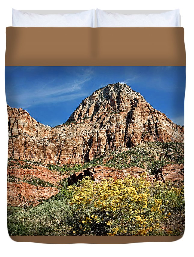 Zion Canyon Duvet Cover featuring the photograph Zion Canyon - Navajo Sandstone by Nikolyn McDonald