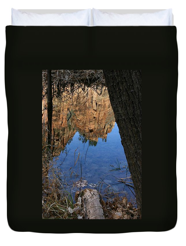 Zion Duvet Cover featuring the photograph Zion Reflections by Nelson Strong