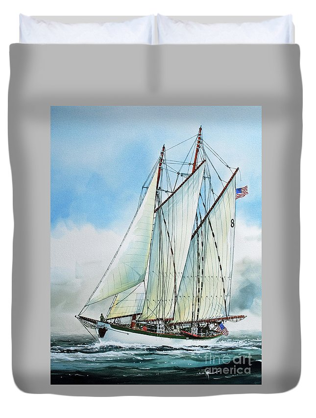 Tall Ship Print Duvet Cover featuring the painting Zodiac by James Williamson