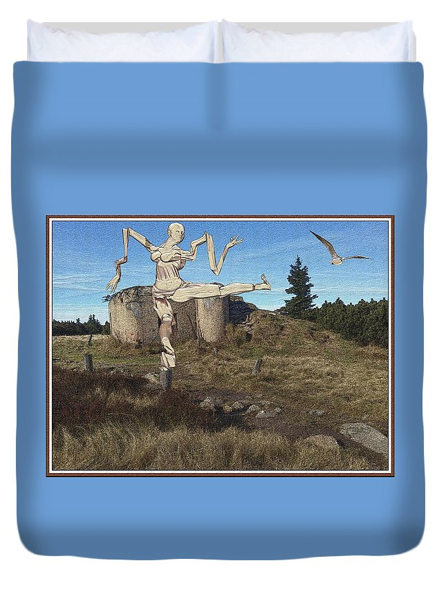 Modern Painting Duvet Cover featuring the mixed media Zombie Near The Ruins by Pemaro