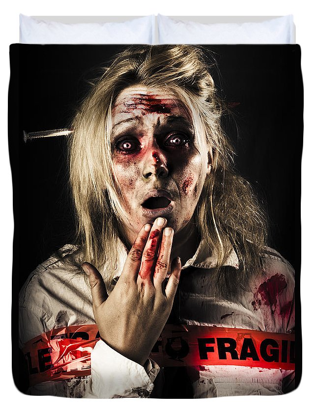 Fear Duvet Cover featuring the photograph Zombie Woman Expressing Fear And Shock When Waking by Jorgo Photography - Wall Art Gallery