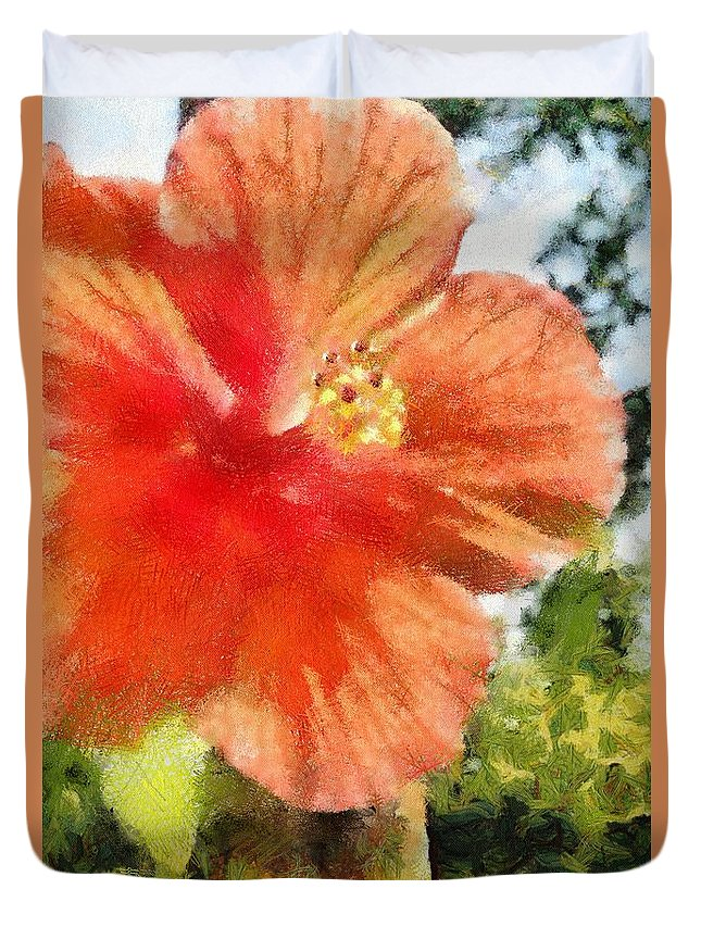 Zoo Duvet Cover featuring the painting Zoo Flower by Jeffrey Kolker