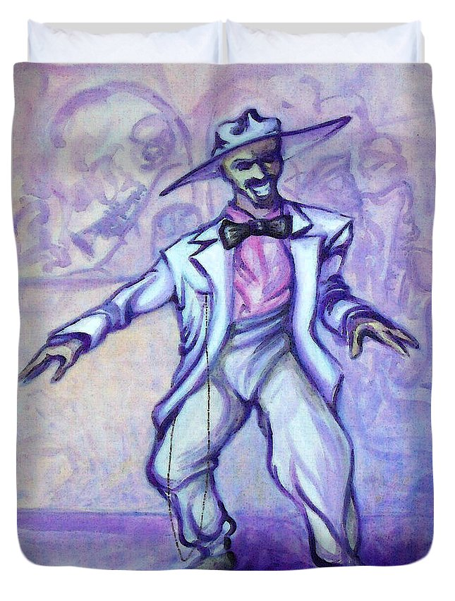 Zoot Suit Duvet Cover featuring the painting Zoot Suit by Kevin Middleton
