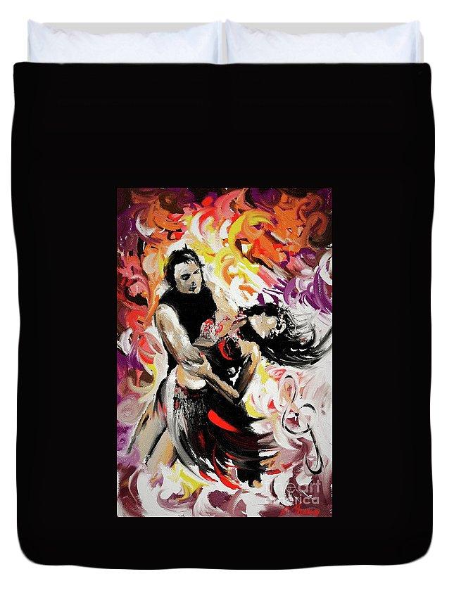 Zouk Duvet Cover featuring the painting Zouk Lambada Dance by Alex Thomas