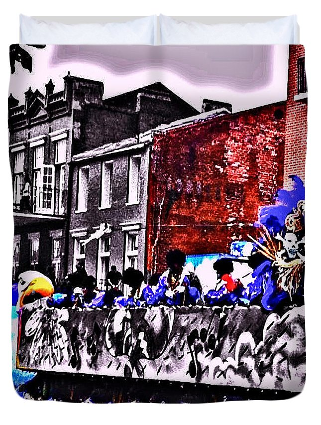 Mardi Gras Duvet Cover featuring the photograph Zulu Krewe In Red And Blue by Paula Baker