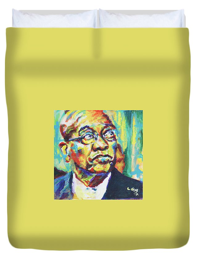 Zuma Duvet Cover featuring the painting Zuma by Larry Ger