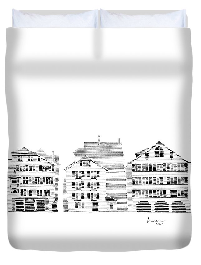 Houses Duvet Cover featuring the drawing Zurich City Scene by Hieu Tran