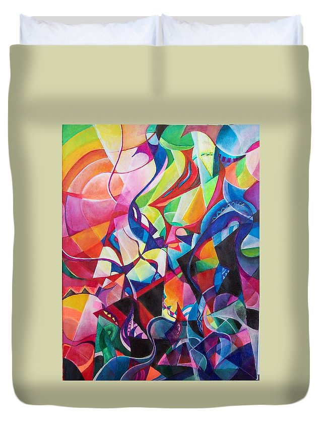 Viktor Tsoy Natali Russian Sun Light Duvet Cover featuring the painting zvezda po imeni solnce A star called sun by Wolfgang Schweizer
