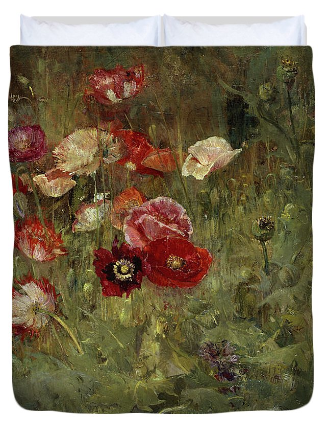 Maria Oakey Dewing Duvet Cover featuring the painting A Bed Of Poppies, 1909 by Maria Oakey Dewing