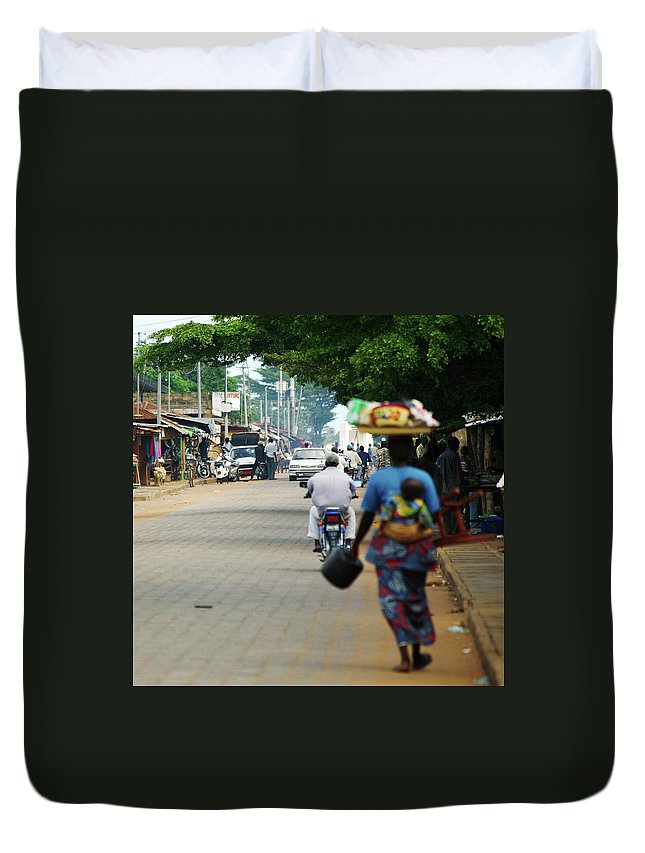 Trading Duvet Cover featuring the photograph African Street Scene by Peeterv