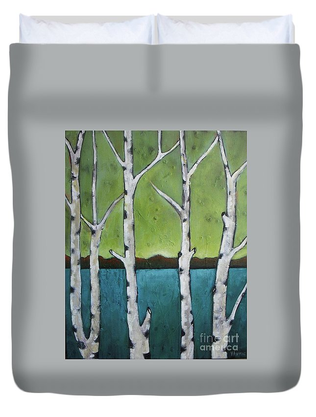 Aspen Duvet Cover featuring the photograph Aspen Trees On The Lake by Vesna Antic
