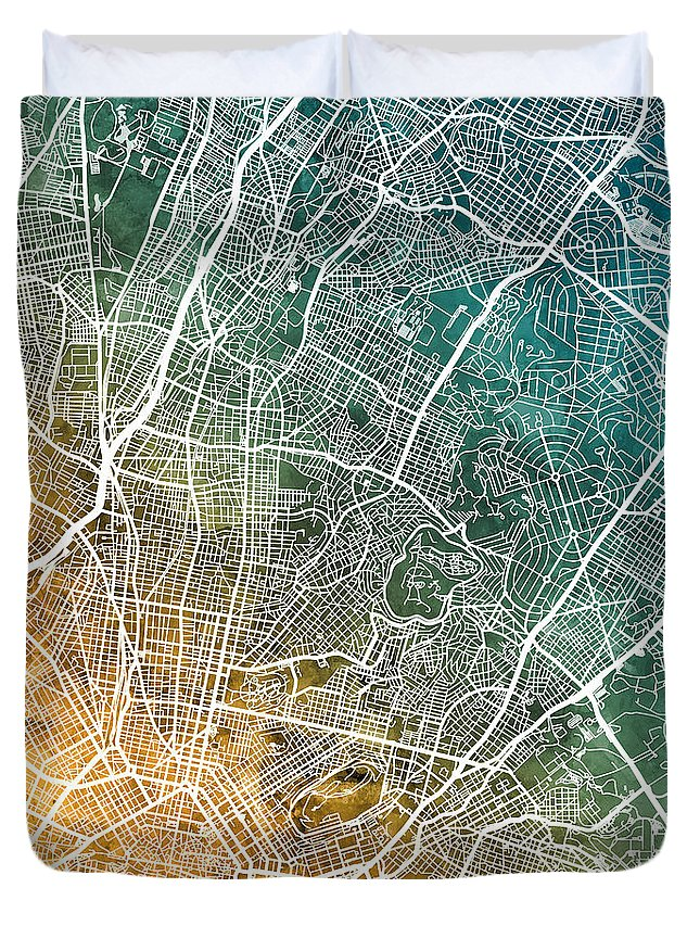 Athens Duvet Cover featuring the digital art Athens Greece City Map by Michael Tompsett