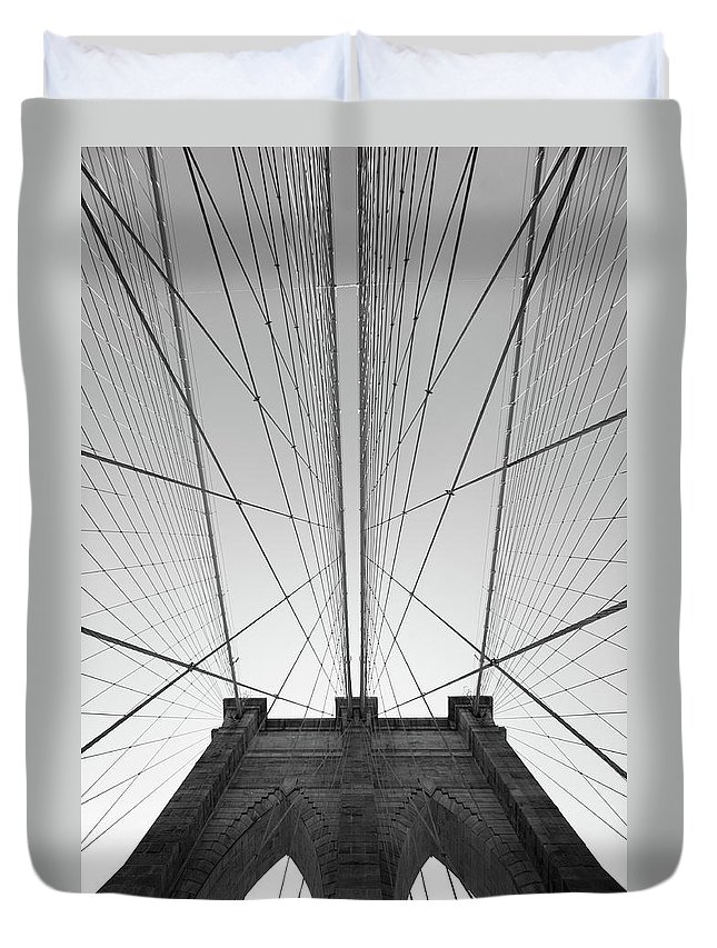 Arch Duvet Cover featuring the photograph Brooklyn Bridge by Jimschemel