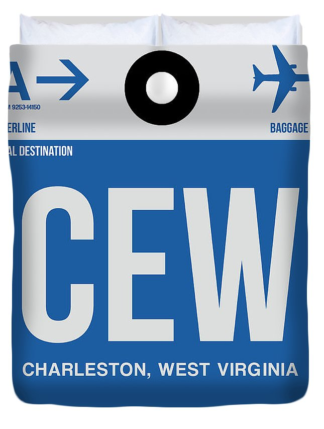 Vacation Duvet Cover featuring the digital art Cew Charleston Luggage Tag I 1 by Naxart Studio