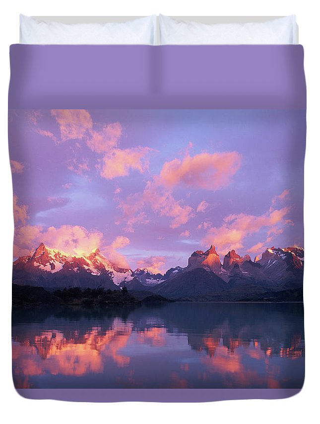 Scenics Duvet Cover featuring the photograph Chile, Patagonia, Torres Del Paine Np by Paul Souders