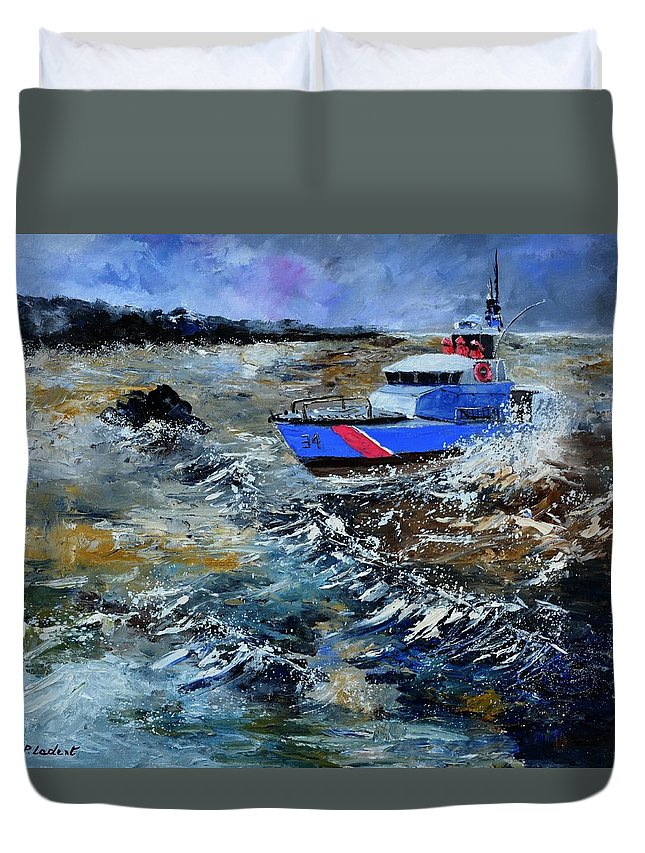 Seascape Duvet Cover featuring the painting Coastguards by Pol Ledent