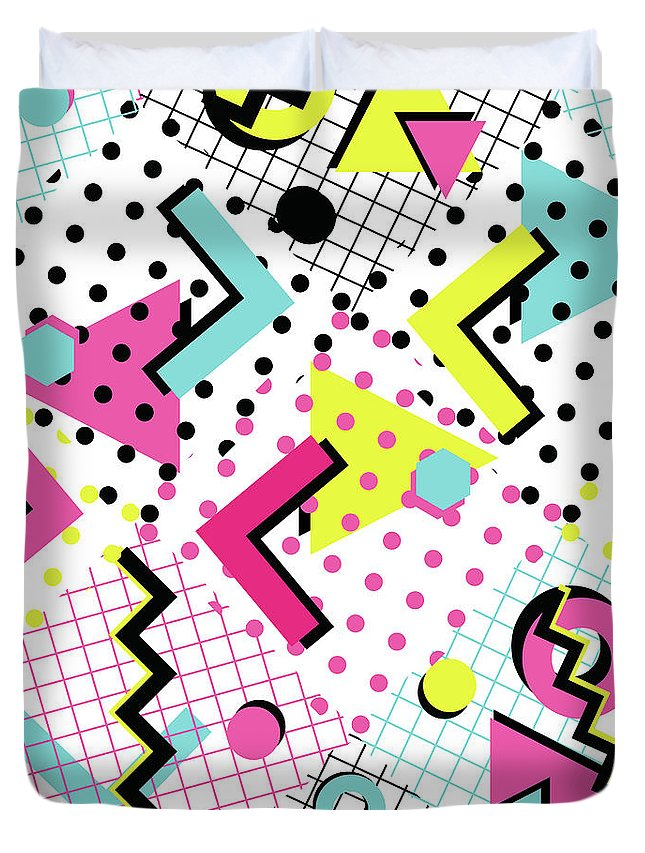 1980-1989 Duvet Cover featuring the digital art Colorful Abstract 80s Style Seamless by Alex bond