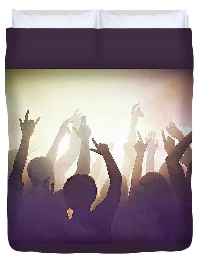 Young Men Duvet Cover featuring the photograph Crowd Of People At Concert Waving Arms by Flashpop