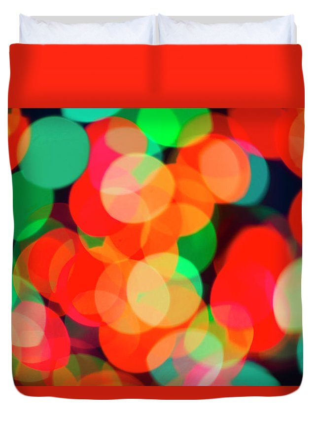 Holiday Duvet Cover featuring the photograph Defocused Lights by Tetra Images