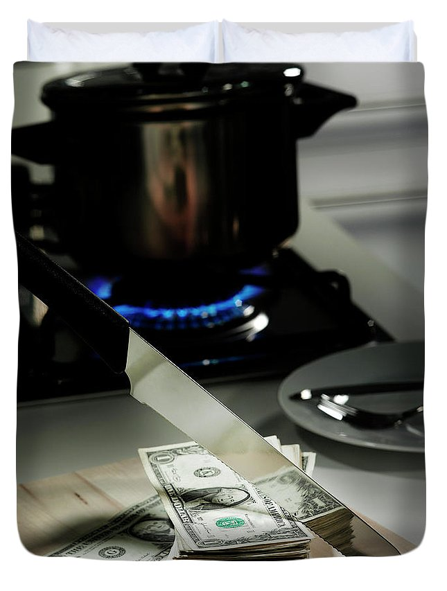 Problems Duvet Cover featuring the photograph Dollar Bills In Frying Pan On Stove by Walter Zerla
