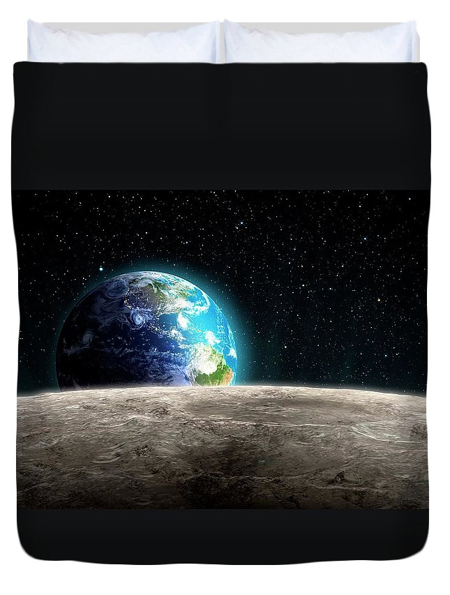 Shadow Duvet Cover featuring the digital art Earthrise From The Moon, Artwork by Andrzej Wojcicki