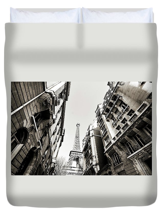 Built Structure Duvet Cover featuring the photograph Eiffel Tower Between Buildings In by Flory