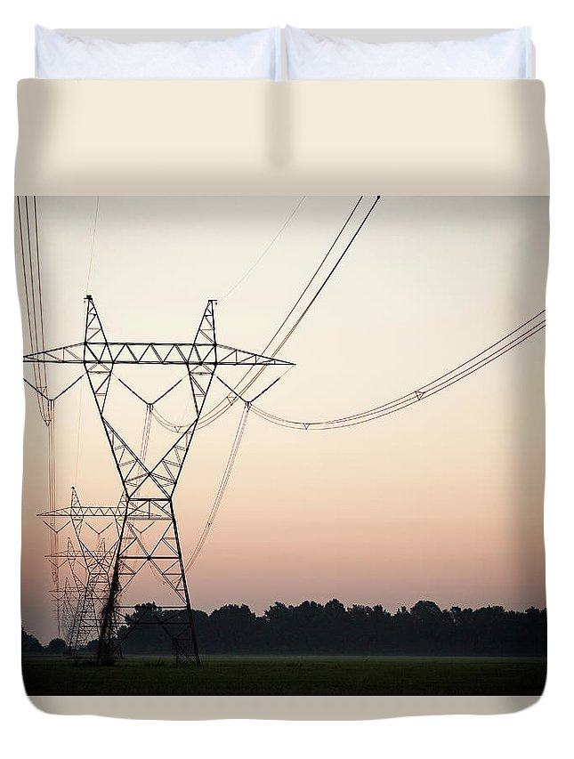 Tranquility Duvet Cover featuring the photograph Electrical Power Lines Against The by Wesley Hitt