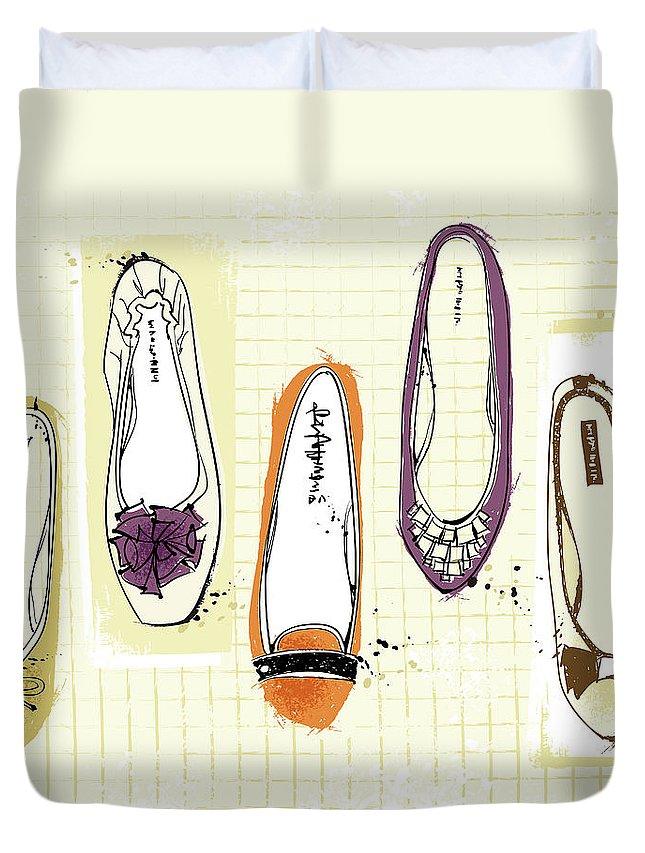 Purple Duvet Cover featuring the digital art Feminine Shoes by Eastnine Inc.