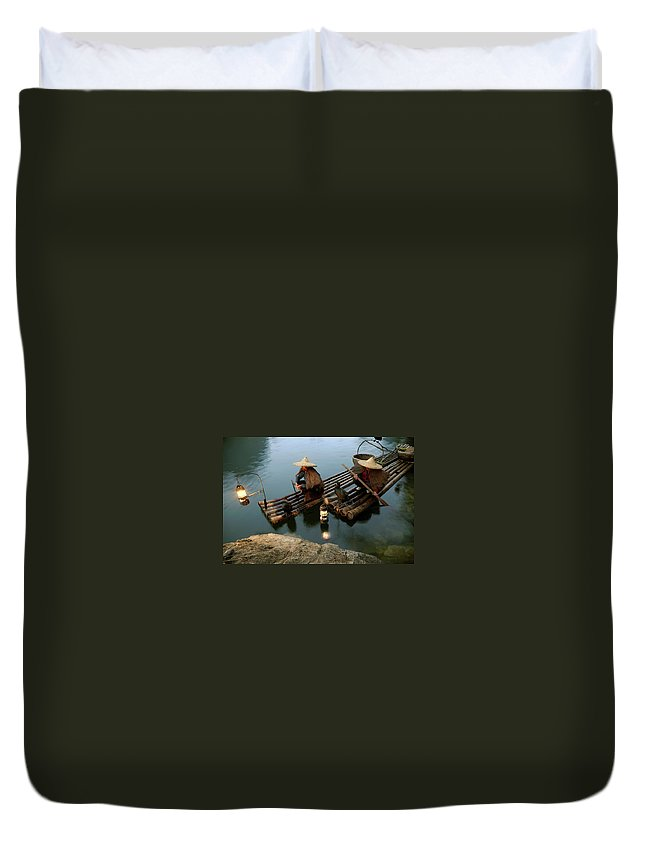 Yangshuo Duvet Cover featuring the photograph Fishing With Cormorants by Kingwu
