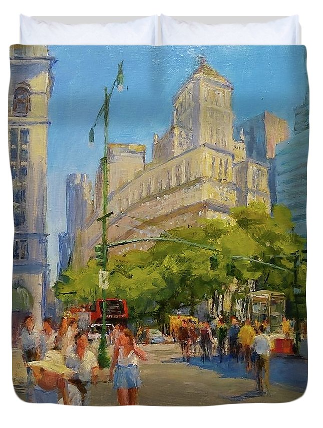 New York Paintings Duvet Cover featuring the painting Foot Traffic, Bowling Green by Peter Salwen